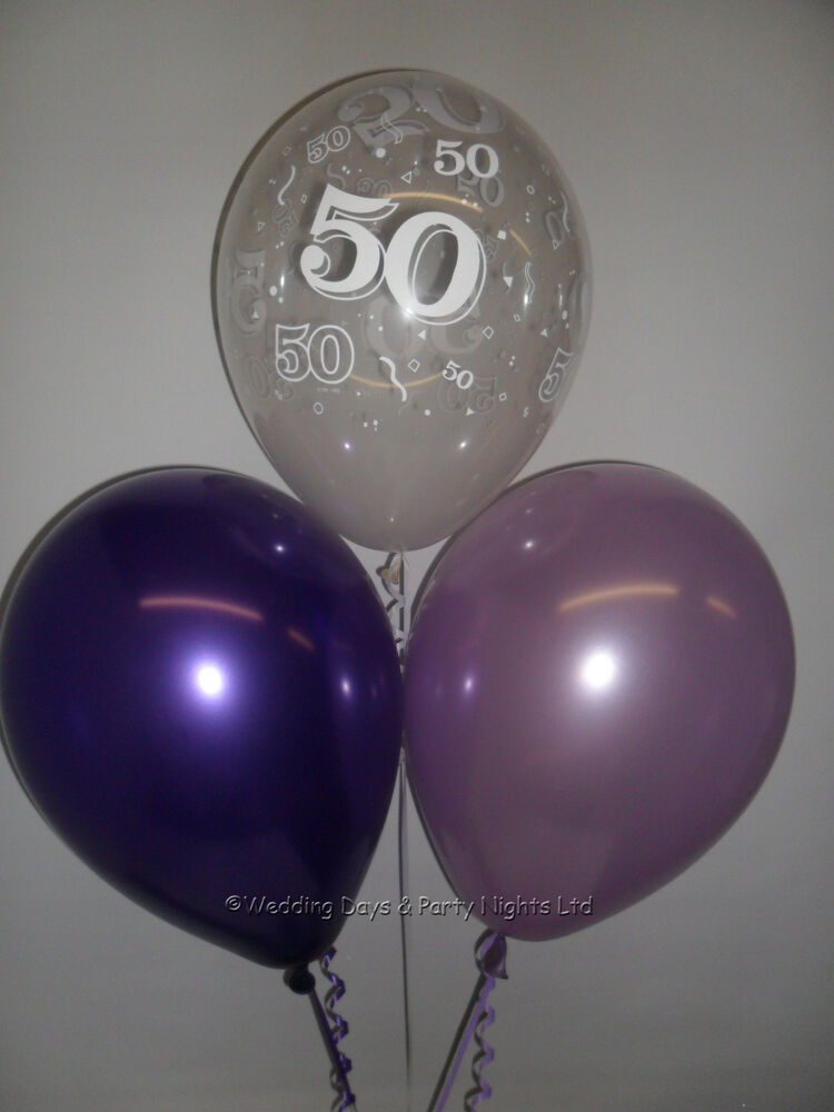 30 50th Birthday Party Helium Or Air Balloons Clear Purple Lilac Decorations