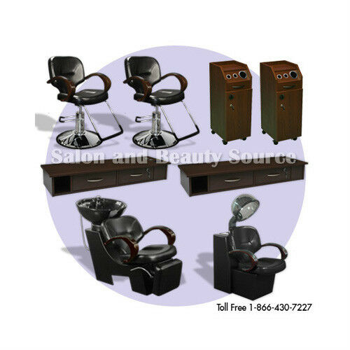 Salon package chairs spa beauty furniture equipment brown for Beautician furniture
