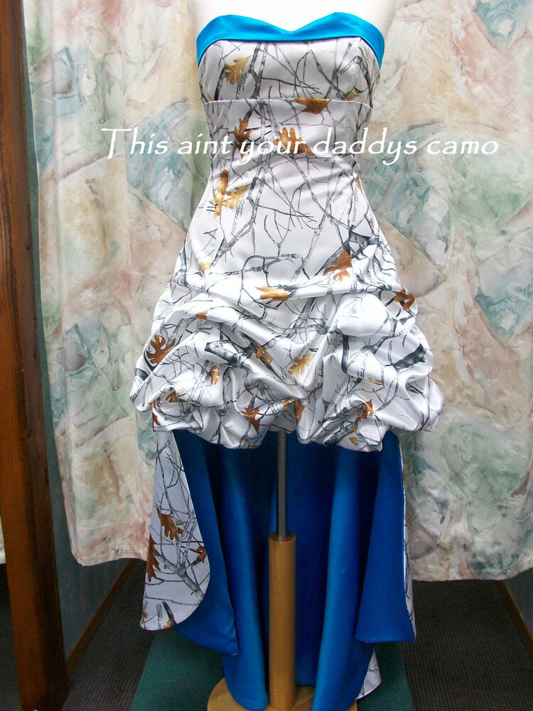 Made in usa camo prom homecoming bridesmaids pick up hi lo for Snow white camo wedding dress
