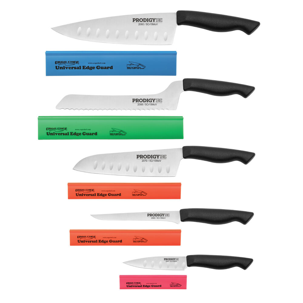 prodigy series 10pc knife set w edge guards chef santoku bread boning paring ebay. Black Bedroom Furniture Sets. Home Design Ideas