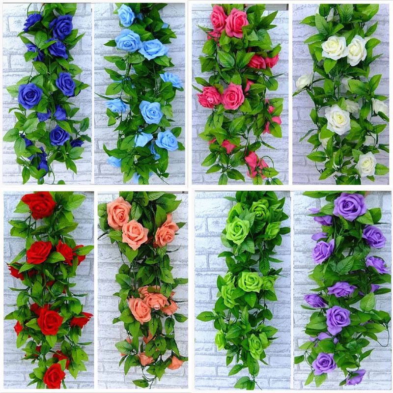 Artificial rose garland silk flower vine ivy home for Artificial flower for wedding decoration