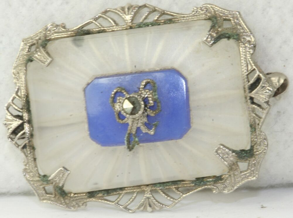 art deco antique frosted camphor glass marcasite pin brooch ebay. Black Bedroom Furniture Sets. Home Design Ideas