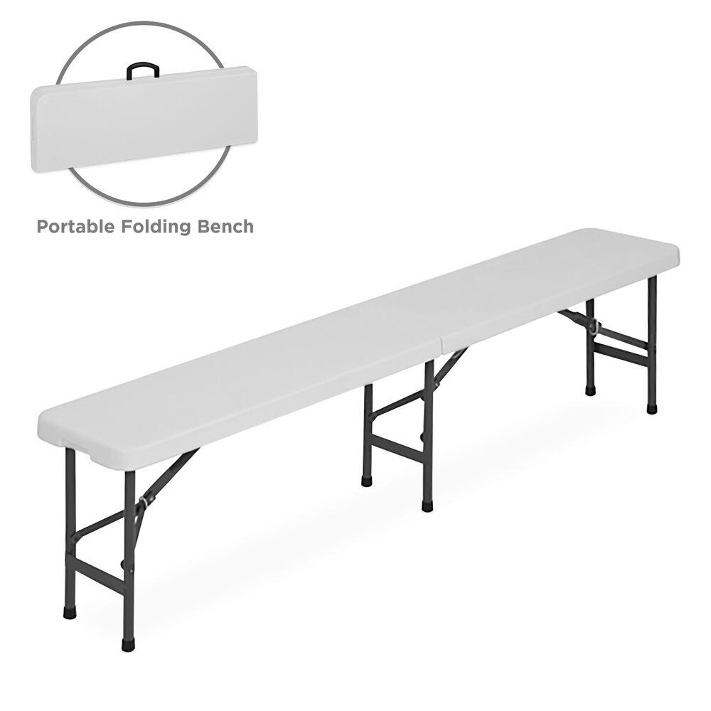 6 39 Folding Portable Plastic Indoor Outdoor Picnic Party Dining Bench Ebay