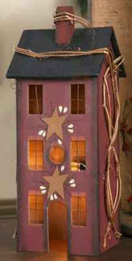 Burgundy Red Wooden Saltbox House Primitive Accent Light