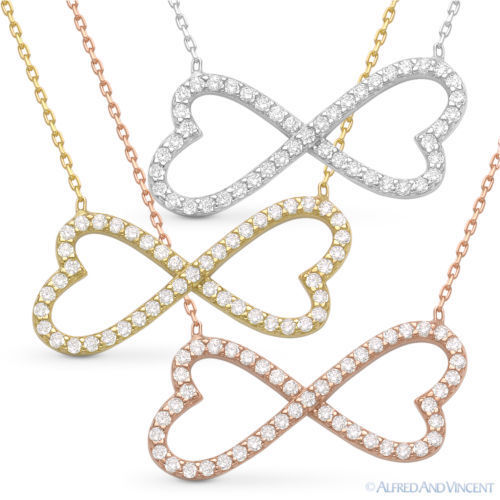 double heart charm infinity pendant cz crystal necklace in. Black Bedroom Furniture Sets. Home Design Ideas