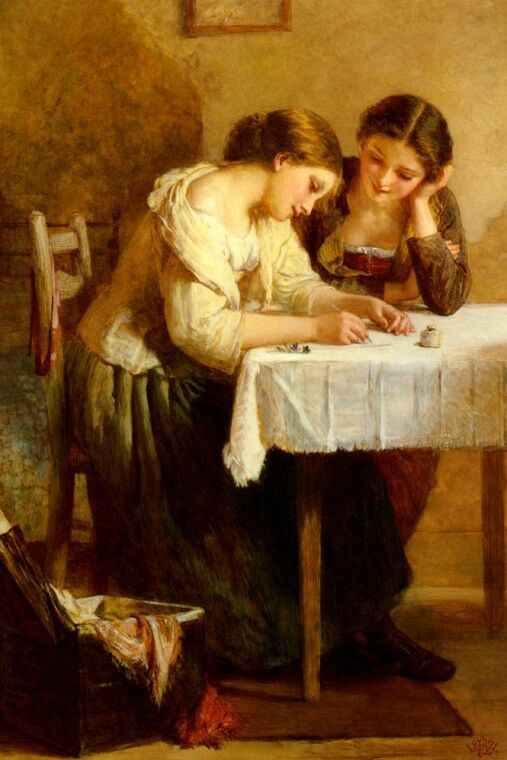 Love Letter Young Woman Writing Romance Painting By Henry