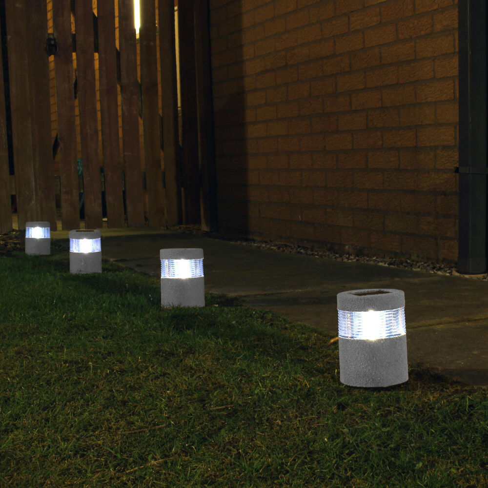 Solar powered led lights stone effect lamp garden path for Led yard lights