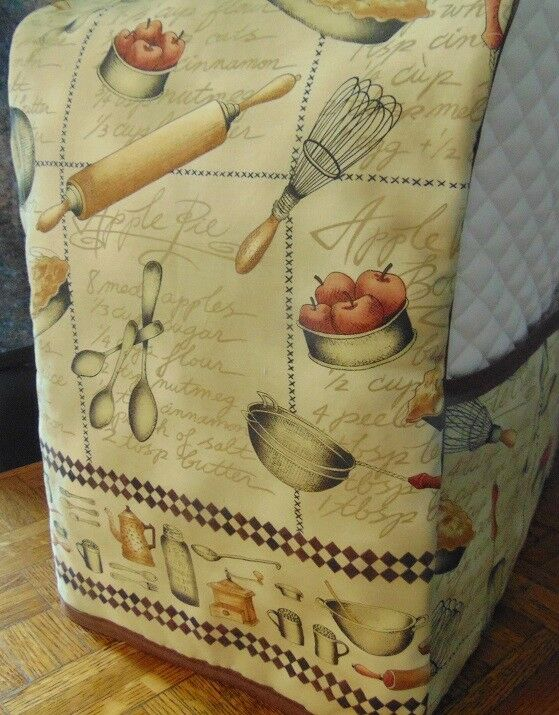 Apple Pie Kitchen Bakery Quilted Fabric Cover For