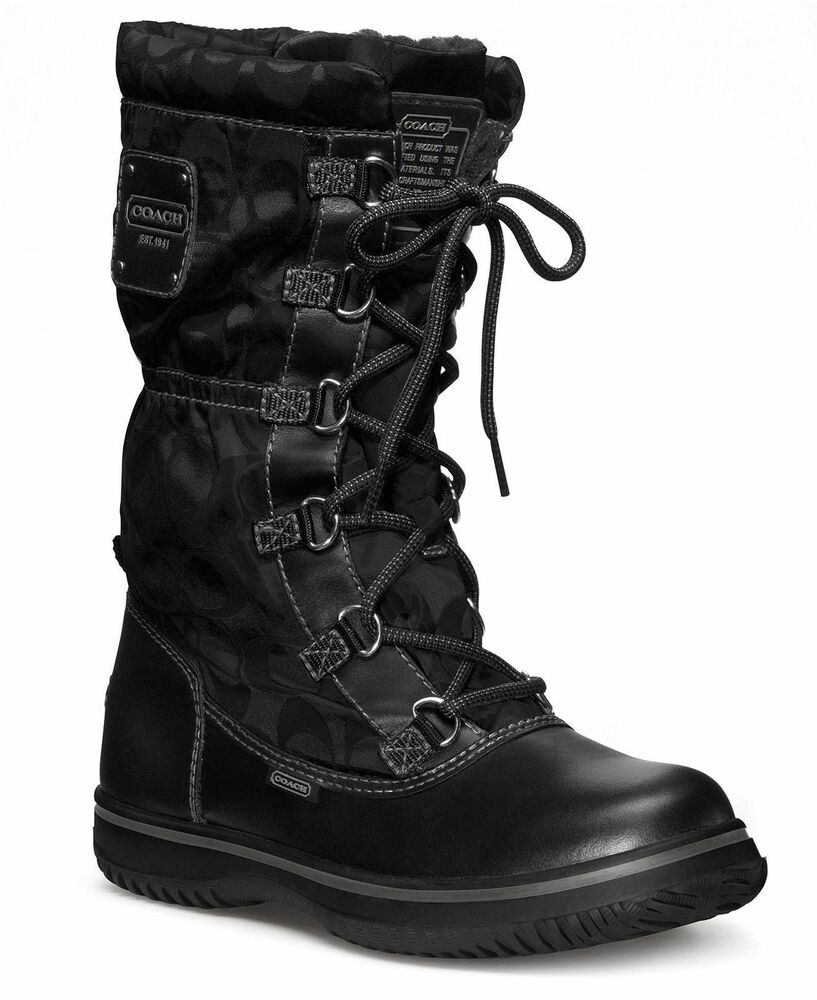 new coach signature women shaine black winter snow boots. Black Bedroom Furniture Sets. Home Design Ideas