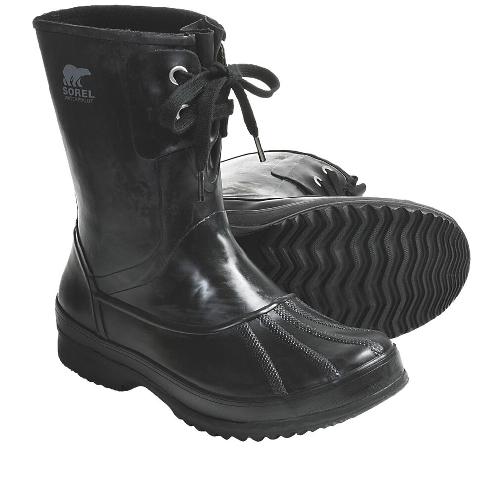 New In Box Men S Sorel Woodbine Welly Black Rubber Boots