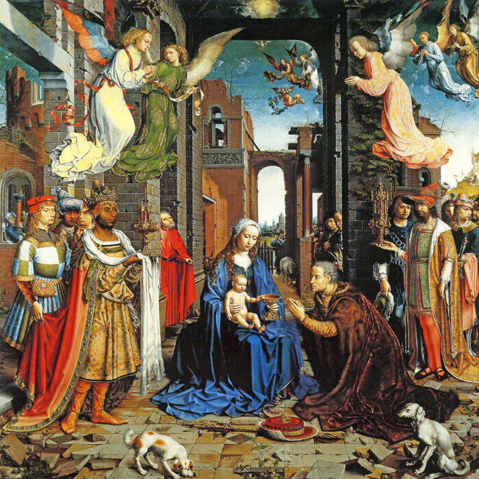 the adoration of the kings baby jesus mary angels painting