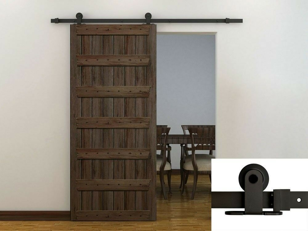 Sliding Barn Door Track : Ft dark coffee modern european style barn wood sliding