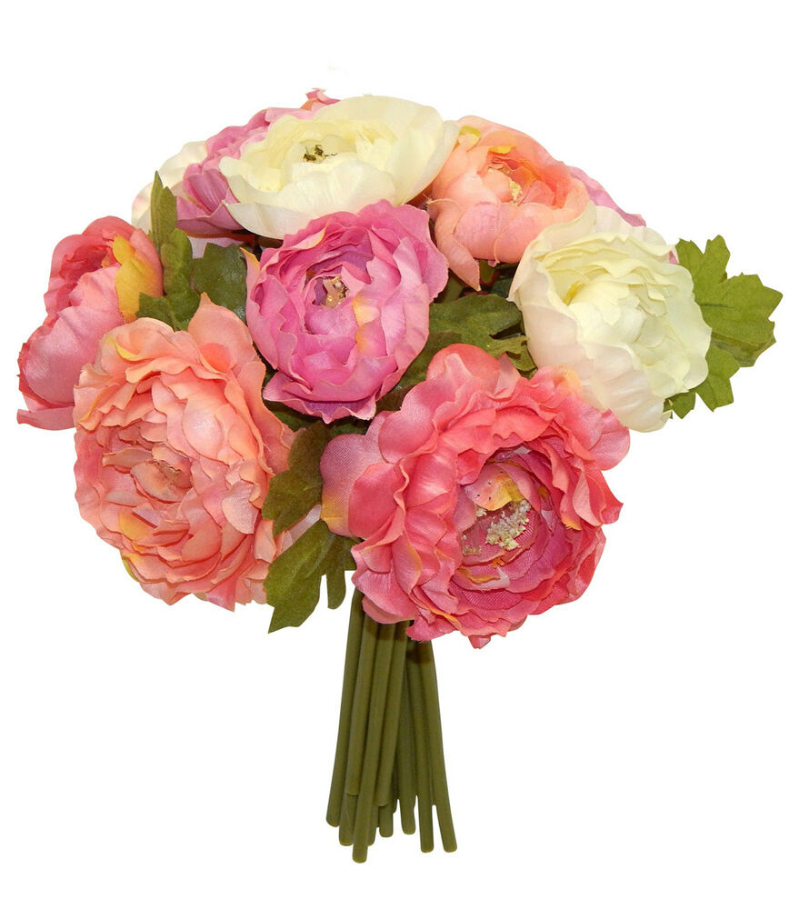 Coral And Pink Wedding Flowers: RANUNCULUS Bouquet Bridal Silk Wedding