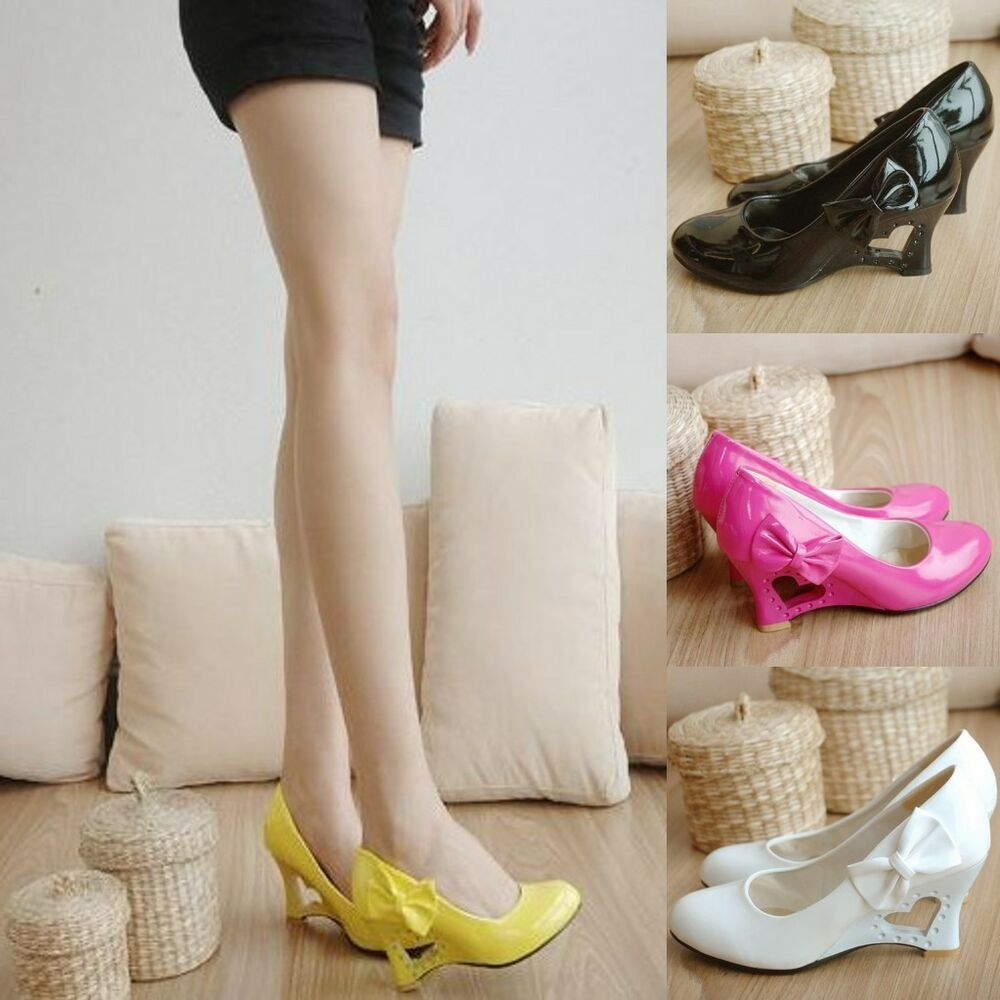 Women's Fashion Wedge Shoes New Kitten Heels Cute Bow PU ...