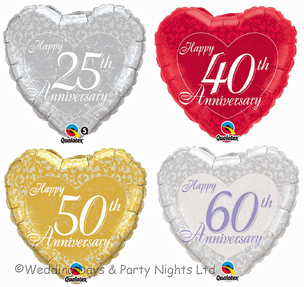 10 x 25th 40th 50th 60th happy anniversary foil heart. Black Bedroom Furniture Sets. Home Design Ideas