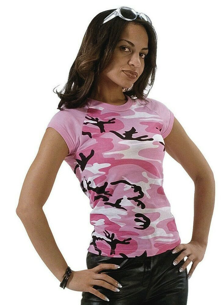 t-shirt bright pink camo womens camouflage raglan slim fit ...
