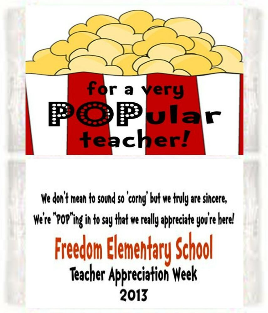 Teacher Appreciation Popcorn Wrappers Birthday Party Favors ...