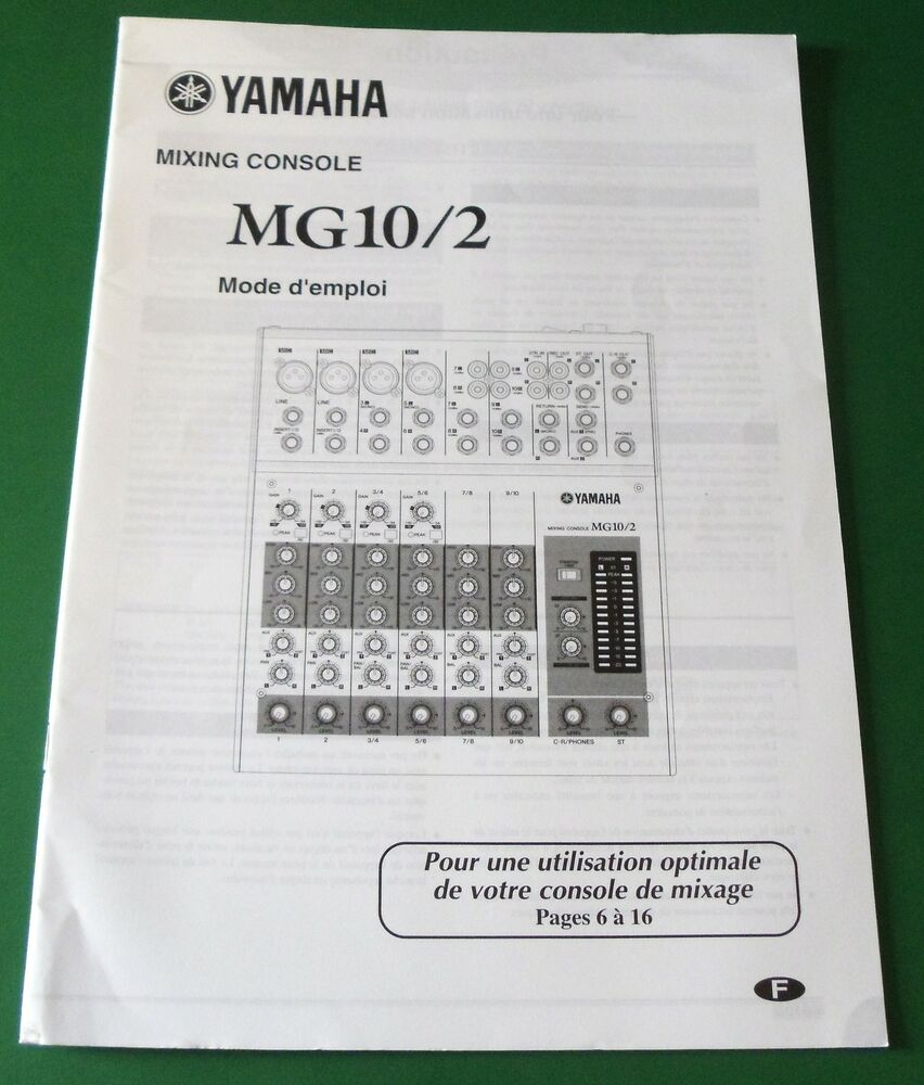 Original yamaha mixing console mg10 2 owner 39 s manual for Yamaha ysp 5600 manual