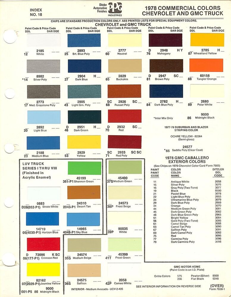 1978 chevrolet truck chevrolet luv truck gmc truck paint for Paint color chips