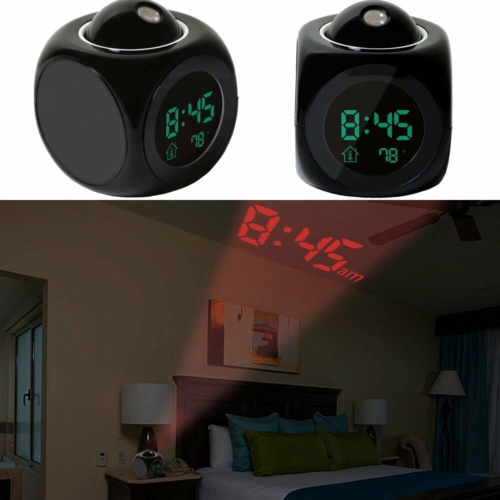 Alarm Clock LED Wall/Ceiling Projection LCD Digital Voice ...