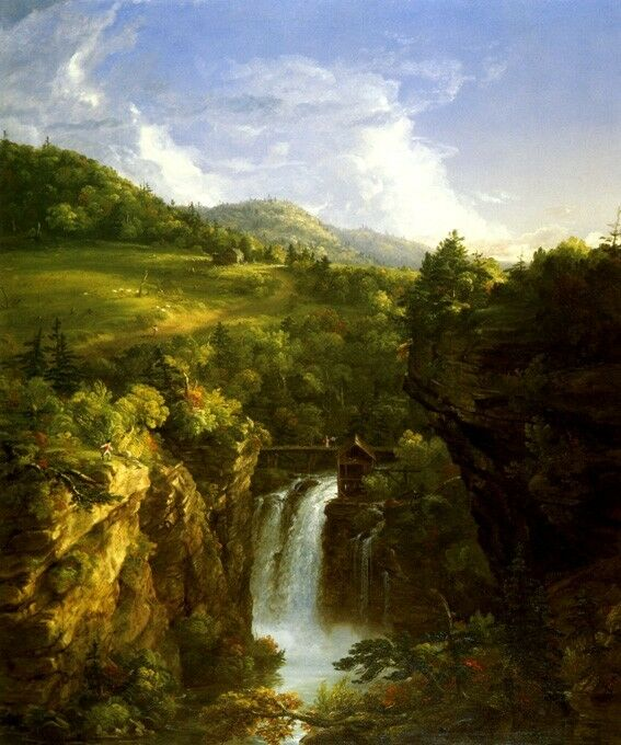 GENESSE SCENERY WATERFALL UPSTATE NEW YORK LANDSCAPE PAINT