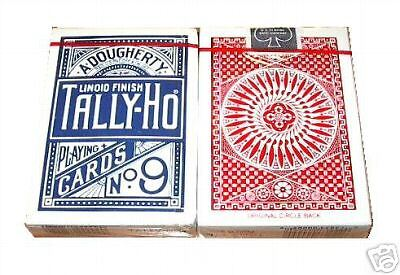 Playing Cards TALLY HO #9 Poker 72 Decks Circle Back/Fan