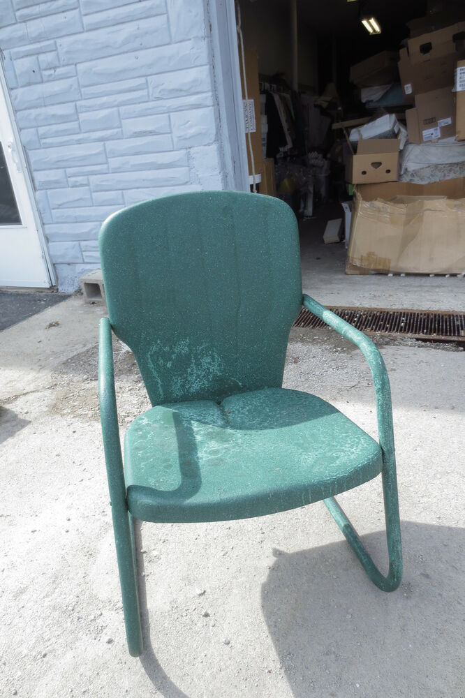 Vintage 1950 39 S Pair Metal Motel Patio Chairs Green Indianapolis EBay
