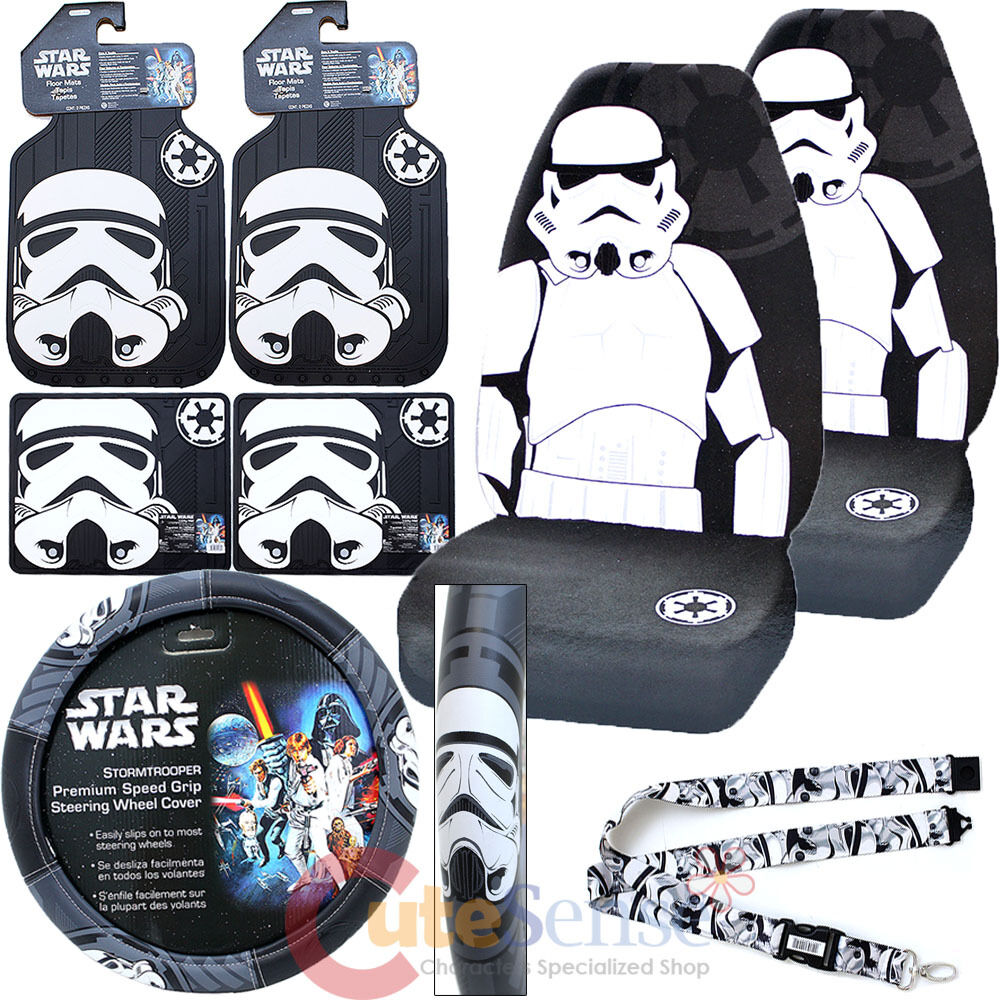 star wars storm trooper car seat covers set auto accessories complete 8pc set ebay. Black Bedroom Furniture Sets. Home Design Ideas
