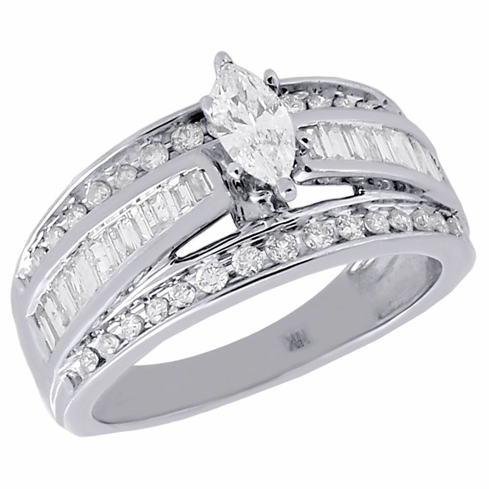 14k White Gold Marquise Cut Solitaire Diamond Wedding