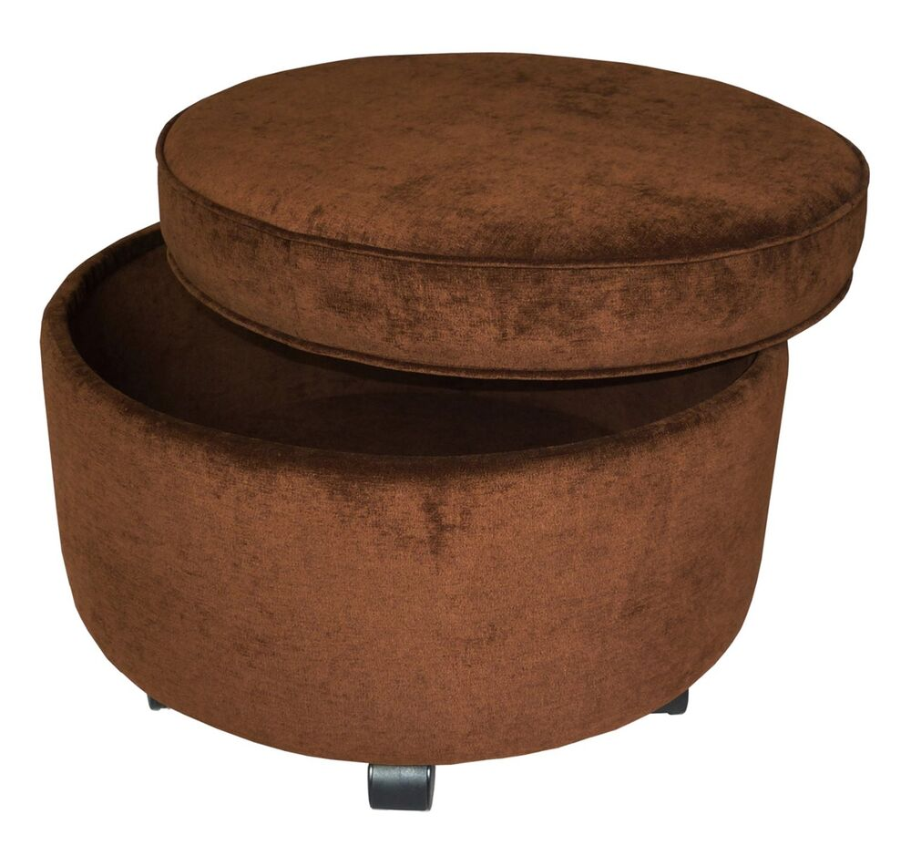 New Large Round Ottoman Footstool Casters Chocolate Brown