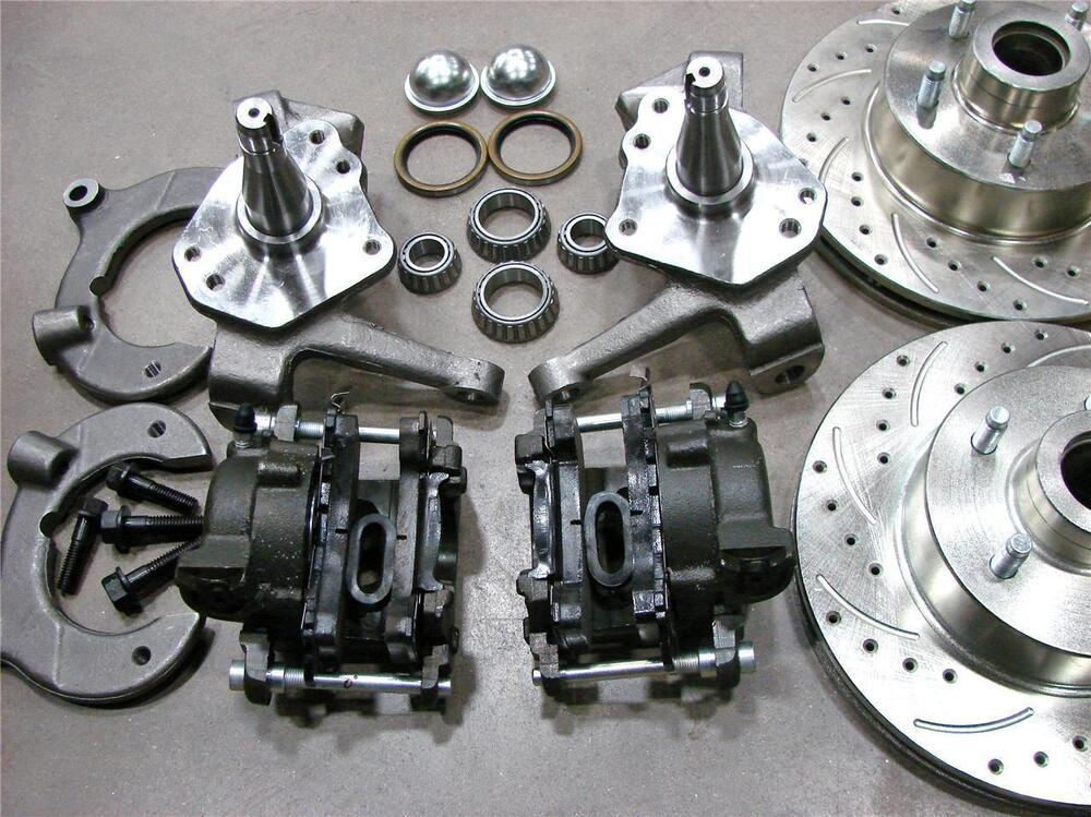 57 Ford Drop Spindles : Mustang ii front quot drilled slotted chevy rotors disc