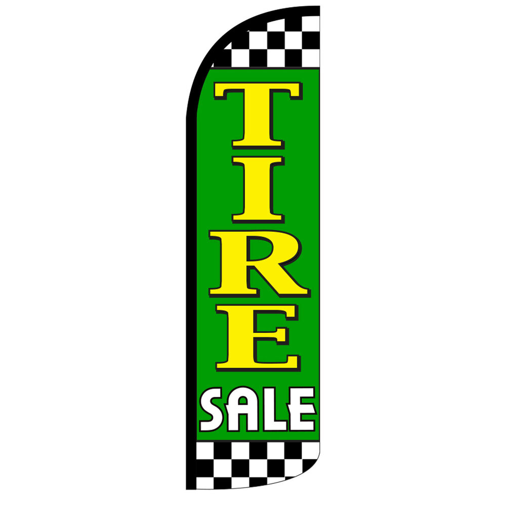 Mattress Blowout Sale ... Feather Flag Tall Banner Sign 3' Wide TIRE SALE GREEN YELLOW | eBay
