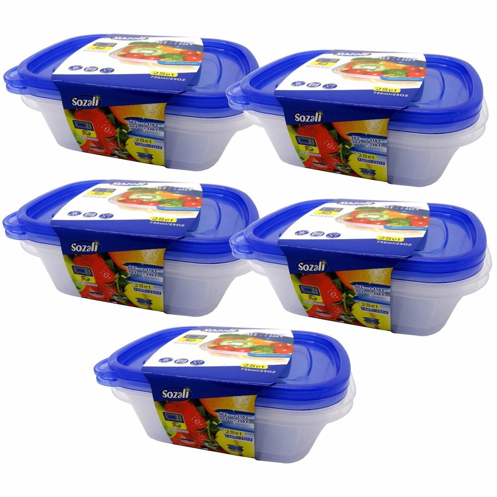 6 X 750ml Plastic Food Microwave Containers Boxes
