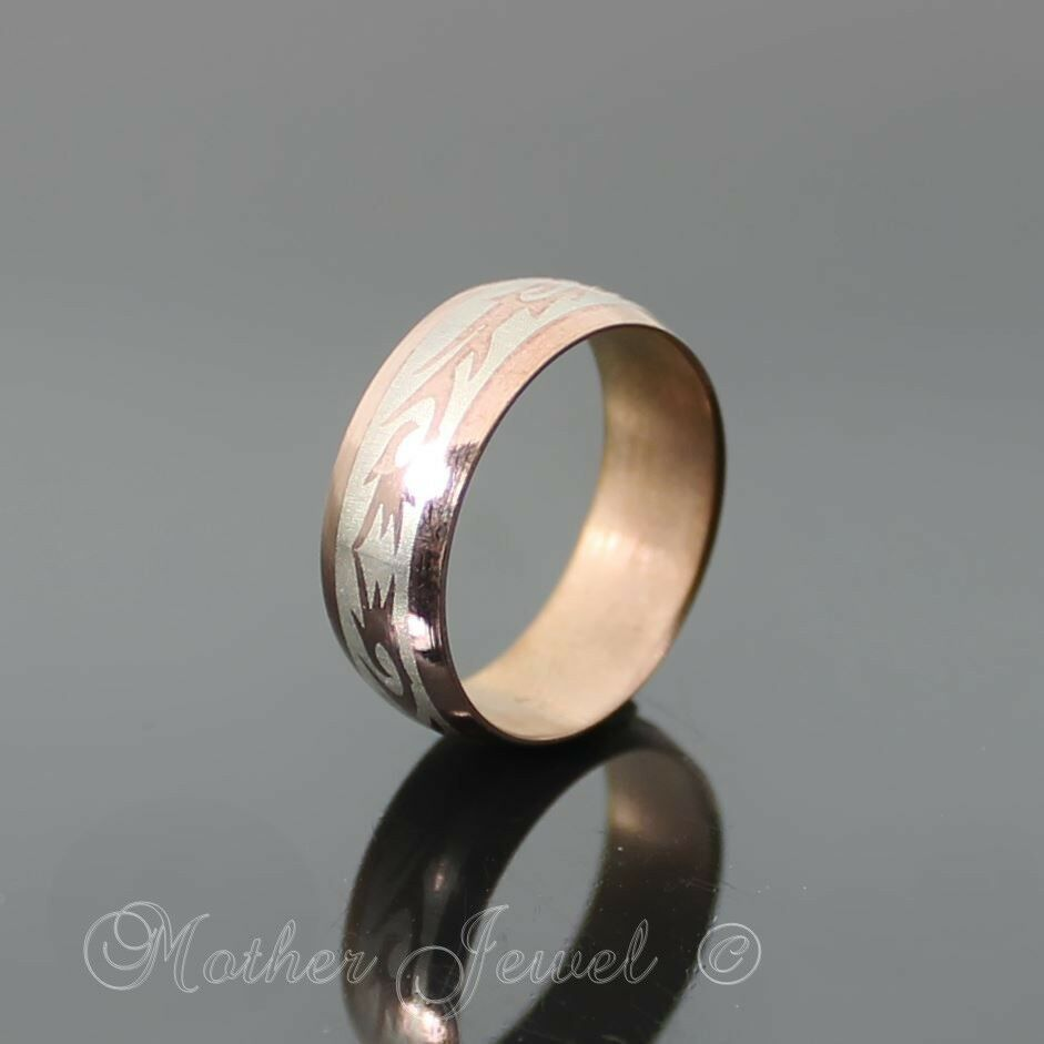 WIDE ROSE GOLD STAINLESS STEEL ANNIVERSARY WEDDING BAND MENS WOMENS RING