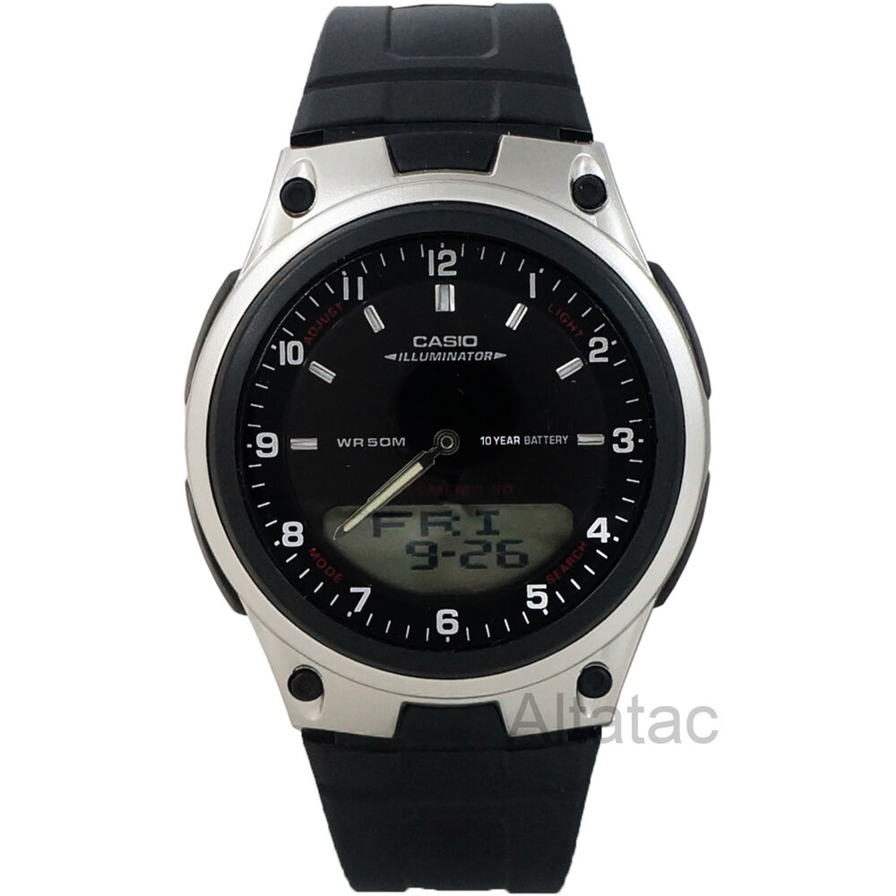 Casio aw80 1av men 39 s analog digital 30 page databank 10 year battery watch ebay for Watches battery