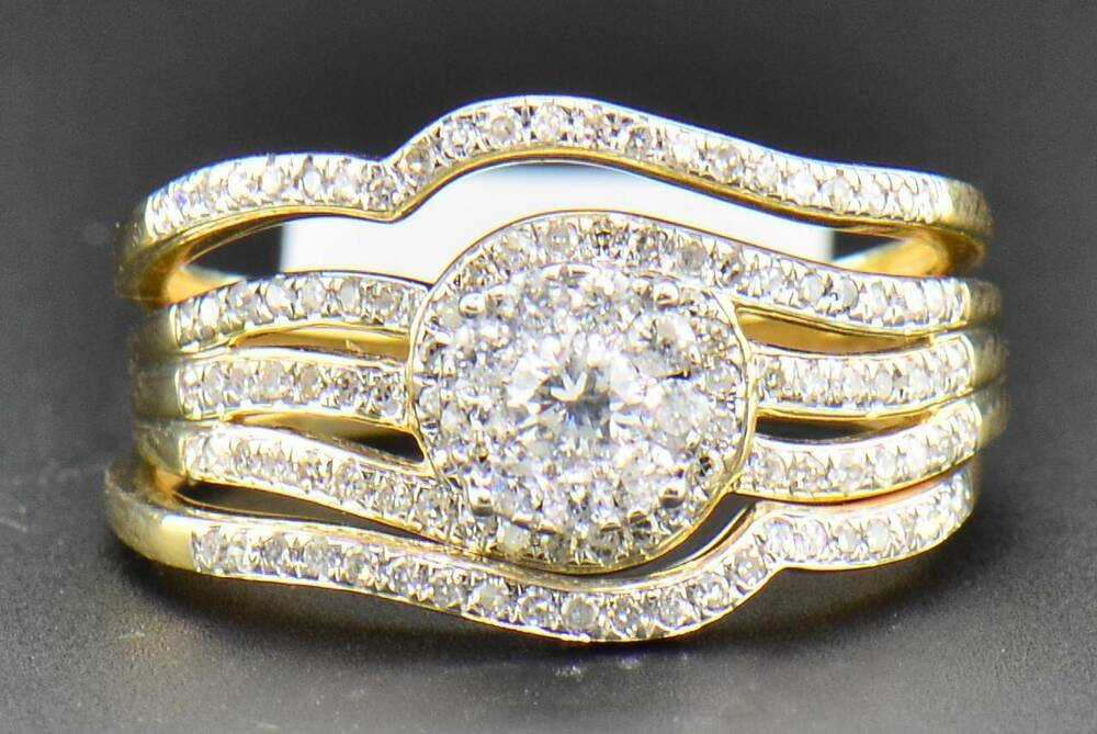 Diamond Bridal Set 14K Yellow Gold Engagement Ring Wedding Band 3 Piece 056 Ct