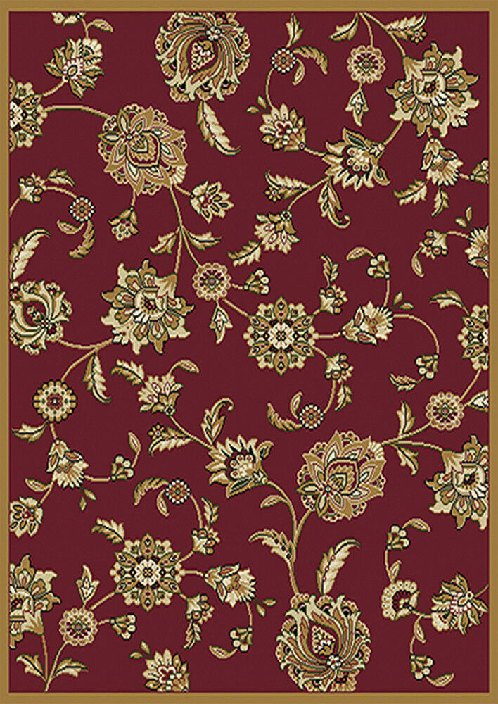 Traditional red oriental floral area rug 5x8 persian for Red floral area rug