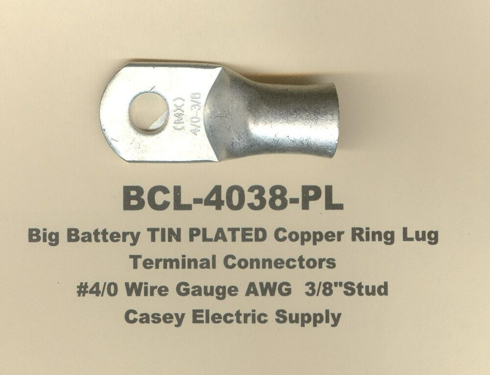 5 Tin Plated Copper Ring Lug Terminal Connector 4 0 Wire