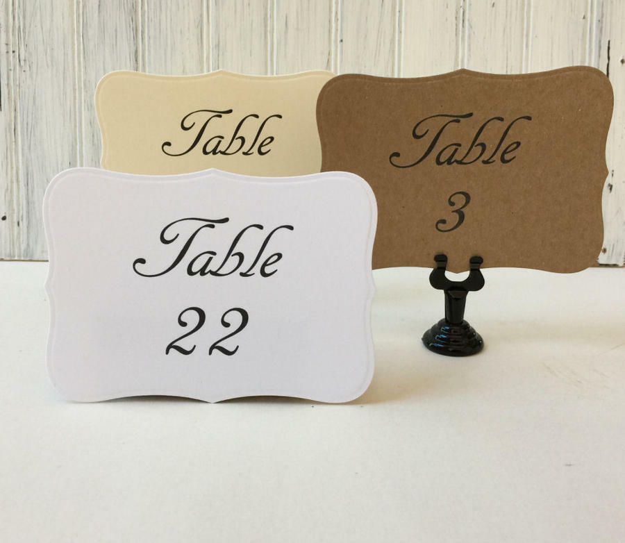 Wedding table numbers cream white kraft vintage table for Table numbers