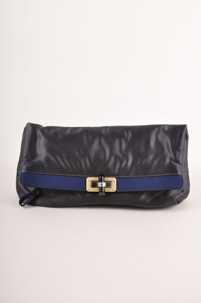 Lanvin Gray/Navy Blue Satin Clutch Bag | EBay