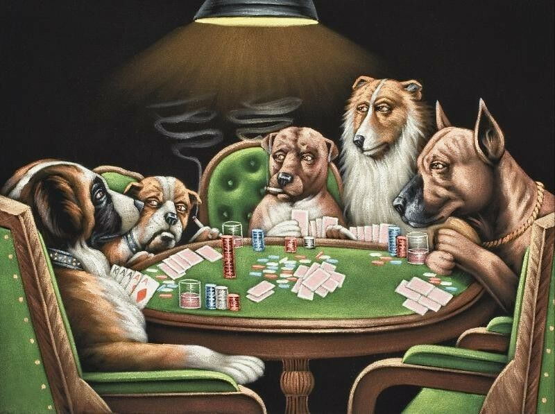 Art Print Dogs Playing Poker Oil Painting Picture Printed