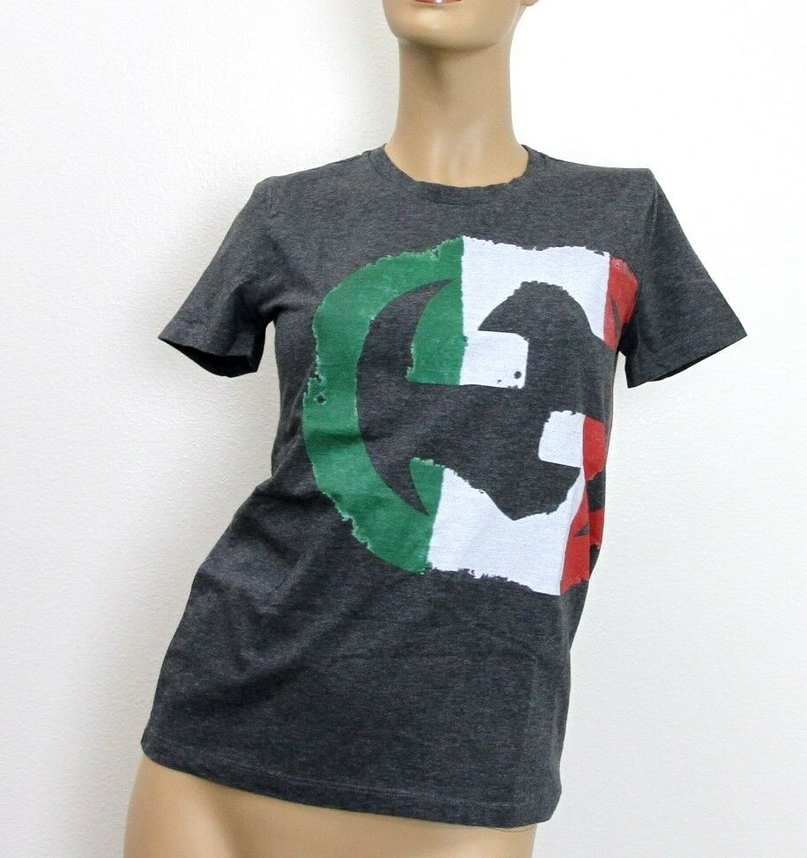new authentic gucci womens top t shirt interlocking g italy flag limited 296654 ebay. Black Bedroom Furniture Sets. Home Design Ideas