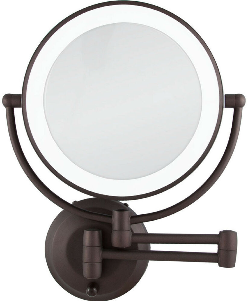 zadro 1x 10x cordless led lighted wall mount makeup mirror ledw810 bronze new. Black Bedroom Furniture Sets. Home Design Ideas