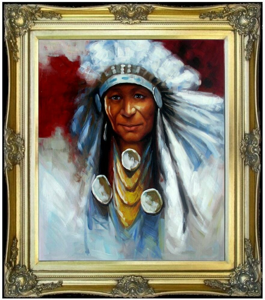 Framed portrait of a native american 100 hand painted for Hand painted portraits from photos