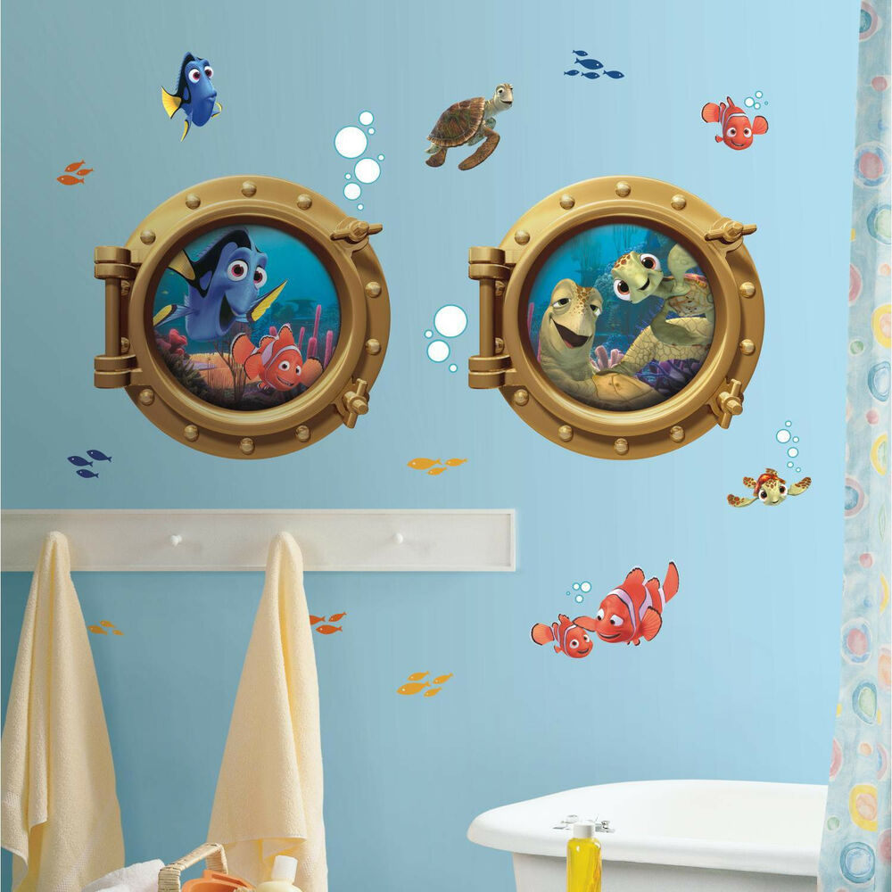 Finding nemo mural wall stickers 19 decals porthole party for Finding dory wall decals