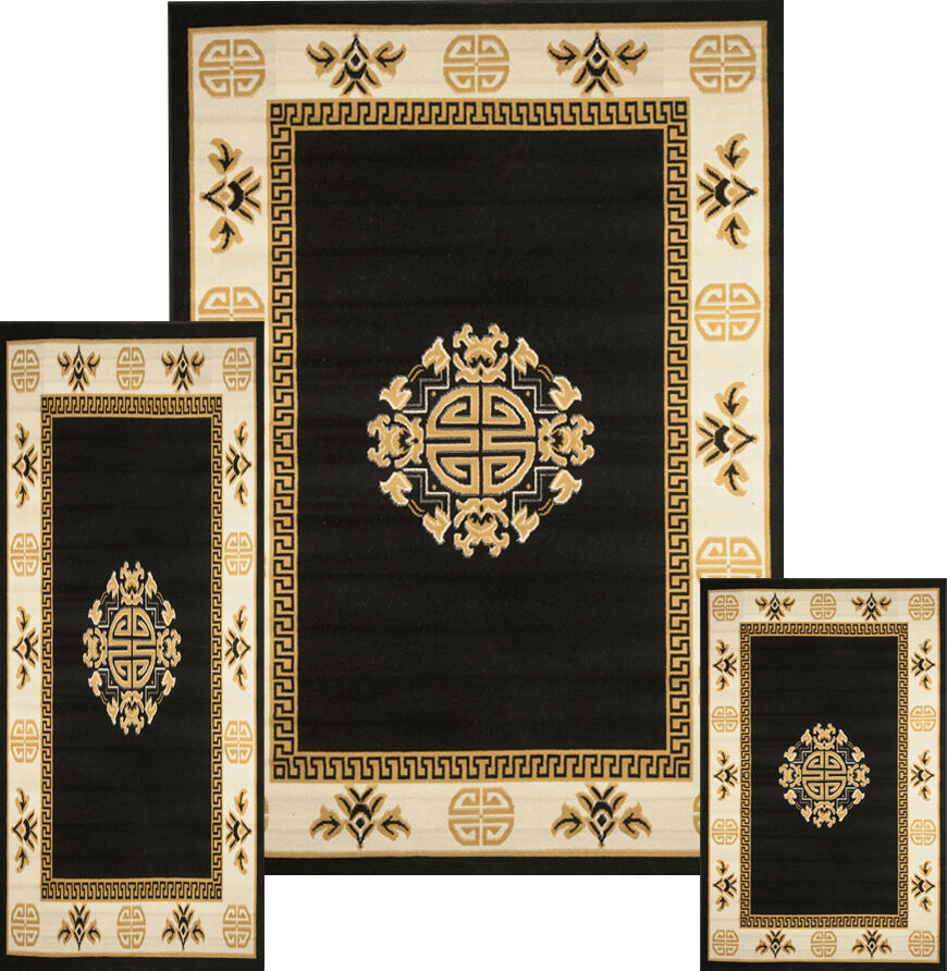 Oriental Asian Medallion Black Persian 3 Pcs Traditional