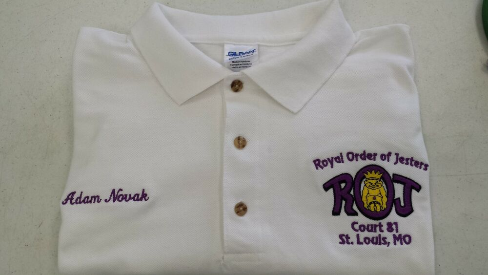 Royal order of jesters polo shirt with court info and your for Order custom polo shirts