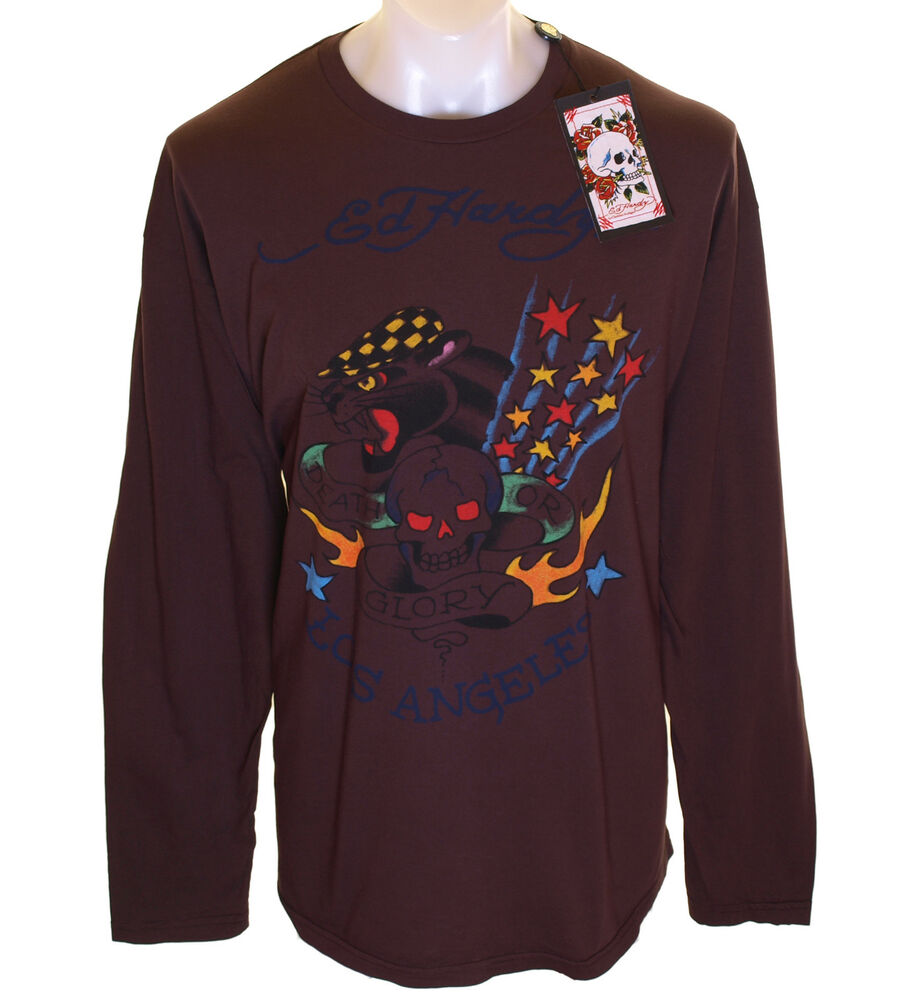 Bnwt mens ed hardy death or glory skull long sleeve t for Mens tall t shirts