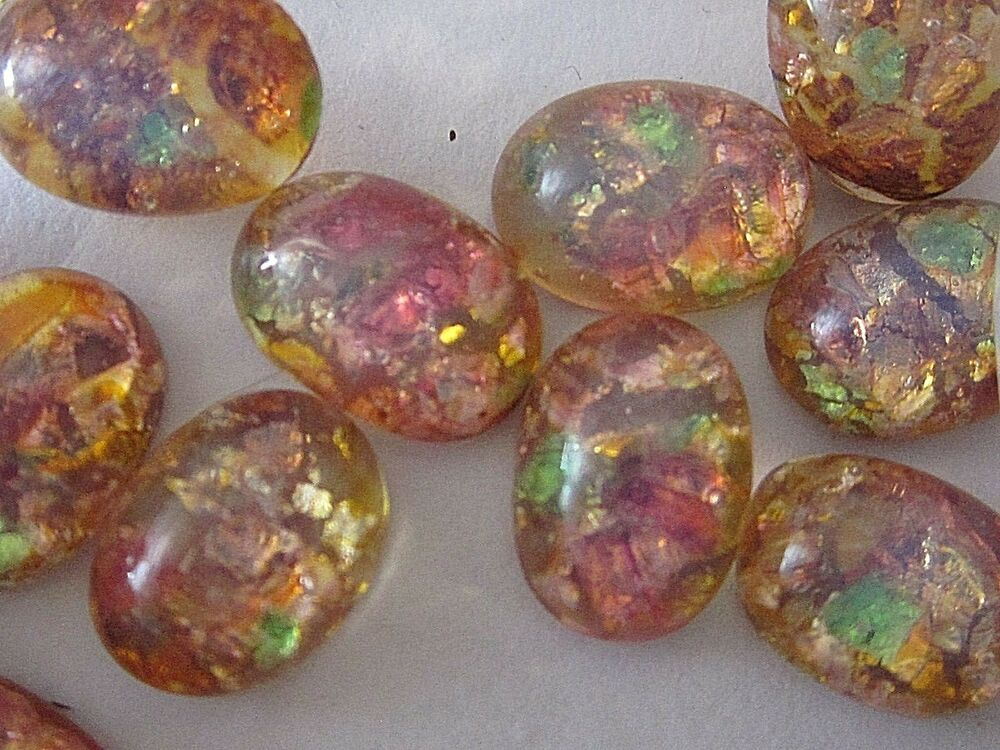 24 vtg fire opal 8x6mm japan glass cab flat back lot stone for Flat stones for crafts