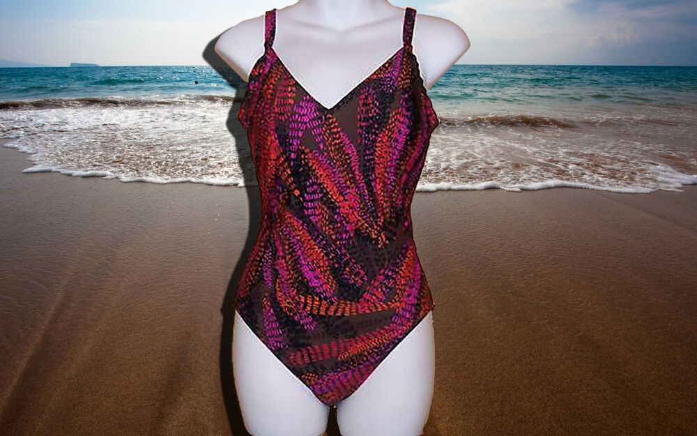 NEW GOTTEX Pink Orange and Brown 1 piece BATHING SUIT